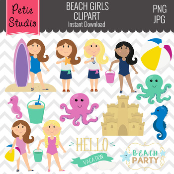 Beach Girls and Sand Castle Clipart - Kids104