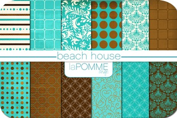 Beach House Bright Blues & Browns Summer Digital Paper Pack