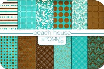Beach House Bright Blues & Browns Summer Digital Paper Pack