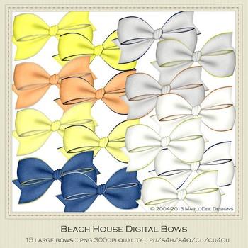 Beach House Colors Digital Bow Graphics