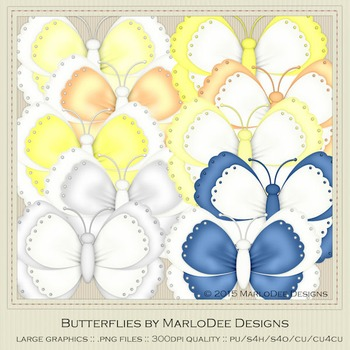 Beach House Colors Digital Butterfly Graphics