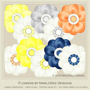 Beach House Colors Digital Flower Graphics