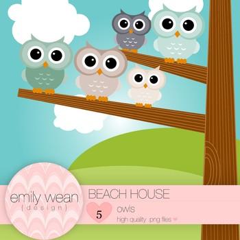 Beach House - Owl Clip Art