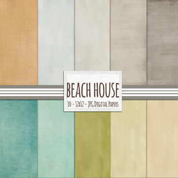 Solid Digital Paper Pack: Summer Beach House, Tranquil and Calm