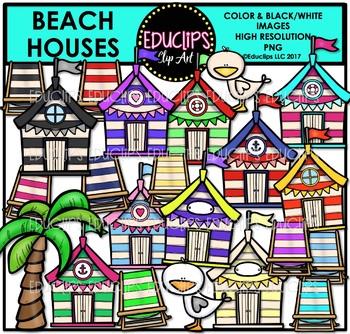 Beach Houses Clip Art Bundle {Educlips Clipart}