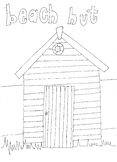 Beach Hut Colouring Page