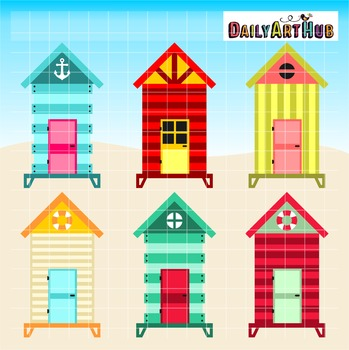Beach Huts Clip Art - Great for Art Class Projects!