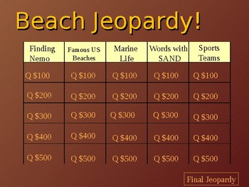 Beach Jeopardy!