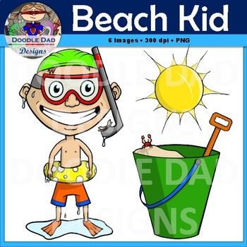 Beach Kid Clip Art (Summer, Spring, Pool, Swimming, Snorkel, Sun, Vacation)