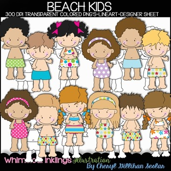Beach Kids Clipart Collection