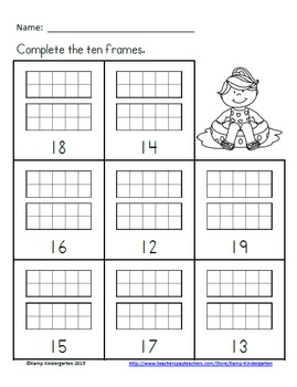 Beach Kids Ten Frames No-Prep Printables (Quantities of 11 to 20)