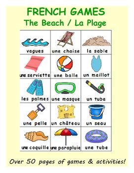 Summer at the Beach / L'été à la plage FRENCH Workbook & Games Package