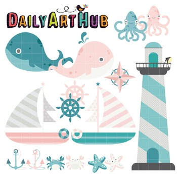 Beach Life Clip Art - Great for Art Class Projects!