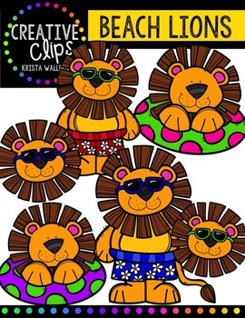 Beach Lions {Creative Clips Digital Clipart}
