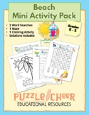 Beach Mini Activity Pack   Word Searches, Maze & Even/Odd Numbers Math for K - 2