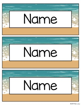 Beach Name Plates / Desk Tags | EDITABLE