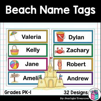 Beach Name Tags - Editable