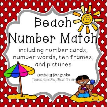 Beach Number Card Match