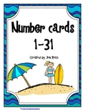 Beach Number Cards 1-31