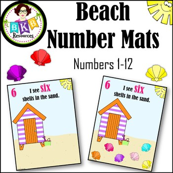 Beach Number Mats ● Numbers 1-12 ● Counting Activity