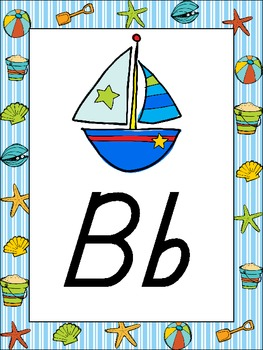 Beach & Ocean Alphabet Posters {ocean sand seashell} DNealian Font