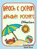 Beach and Ocean Themed Classroom Alphabet Posters DNealian Font