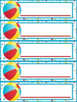 Beach Ocean Name Tags Plates - FREE