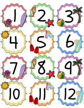 Beach / Ocean Theme Calendar Numbers