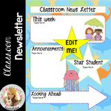 Beach / Ocean Theme Classroom News Letter *EDITABLE*