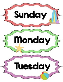 Beach / Ocean Theme Days of the Week Signs