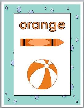 Ocean Theme Classroom Decor Color Words Posters