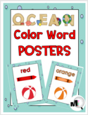 Ocean Theme Classroom Decor Color Words Posters