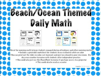 Beach/Ocean Themed Daily Math