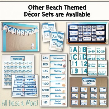 Beach & Ocean Themed Editable Binder Covers Classroom Decor Blue & Tan