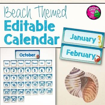 Beach & Ocean Themed Editable Classroom Calendar Set Decor Blue & Tan
