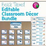 Beach & Ocean Themed Editable Classroom Decor Set Bundle