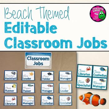 Beach & Ocean Themed Editable Classroom Jobs Set Decor Blue & Tan