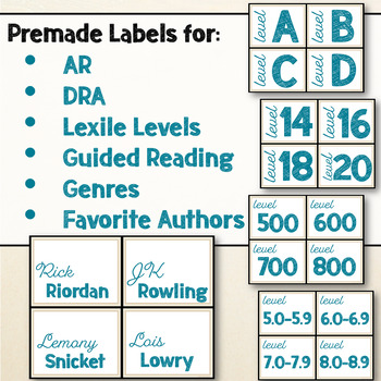 Beach & Ocean Themed Editable Classroom Library Labels Decor Blue & Tan