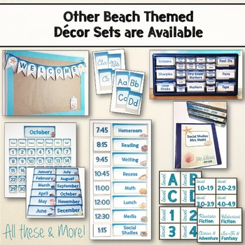 Beach & Ocean Themed Editable Classroom Schedule Set Decor Blue & Tan