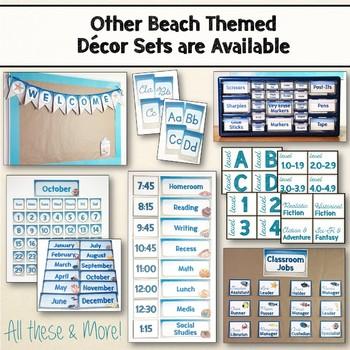 Beach & Ocean Themed Editable Desk Name Plates Set Decor Blue & Tan