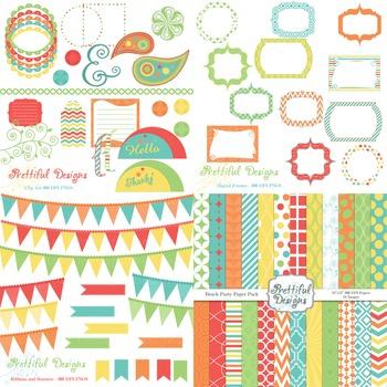 Beach Party Digital Paper and Clip Art Kit Teacher Supplies