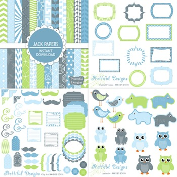 Jack Blue and Green Owl Bird Hippo Digital Paper and Clip Art Kit