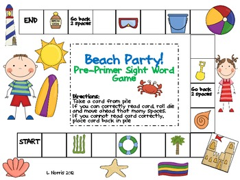 Beach Party Pre-Primer Sight Word Board Game