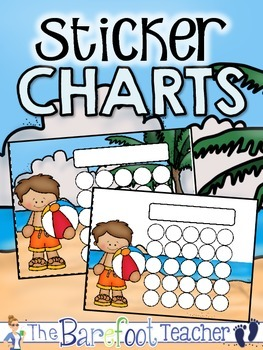 Beach Party Sticker Incentive Charts - Full Color and Less-Ink Options