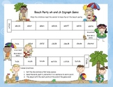 Beach Party ch and wh Digraph Literacy Station Word Game RF.1.3, RF.2.3