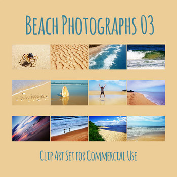 Beach Photos 3 - Ocean Shore Photograph Clip Art Set for Commercial Use