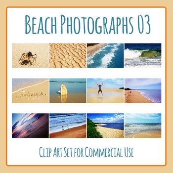 Beach Photos 3 - Ocean Shore Photograph Clip Art Set for Commercial Use