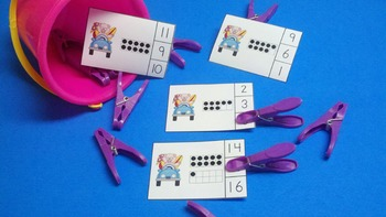 Beach Pigs Ten Frames Count and Clip Cards for Numerals to 20