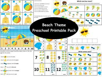 Beach Preschool Printable Pack