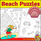 Beach Puzzles – End of Year Activities, Summer Vacation Crossword, Word Search